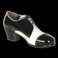 01 Piel blanco | C24 Charol negro | Tacón cubano bota 50 mm forrado