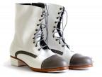 01 Piel Blanco | 23 Piel Gris | Tacón 25mm recto forrado, botas artesanañes