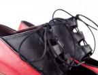 05 Piel Rojo | 24 Piel negro | Tacón cubano alto 60mm nogal detalle cierre
