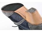 Piel fantasía | A23 Ante gris | Tacón Cubano bota 50 mm natural, detalle suela y clavos