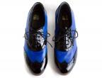 18 Piel Azul Eléctrico | C24 Charol Negro | Tacón chapín 35 mm forrado,  vista superior
