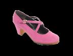 A06 Ante rosa | Tacón clásico bajo 55 mm forrado