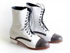 01 Piel Blanco | 23 Piel Gris | Tacón 25mm recto forrado, botas artesanales